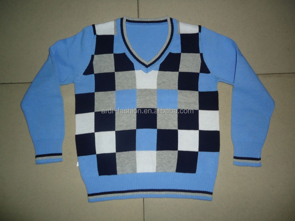 Square Check Jacquard Knitted Baby Boy Sweater Designs