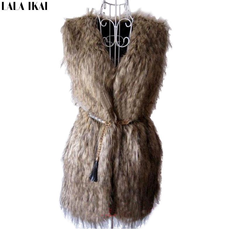 Женщины искусственного меха жилет зимний длинный жилет без рукавов люкс шуба бесплатная доставка большой размер тонкий меховой жилет CAP057