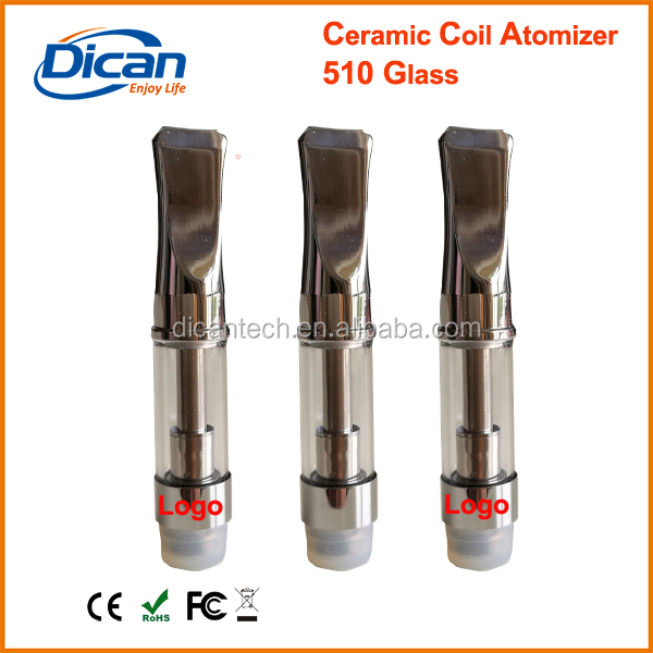 Custom logo laser print glass tank ceramic coil cartridge 1ml cbd oil vape metal tip cartridge dss model Dican tech original