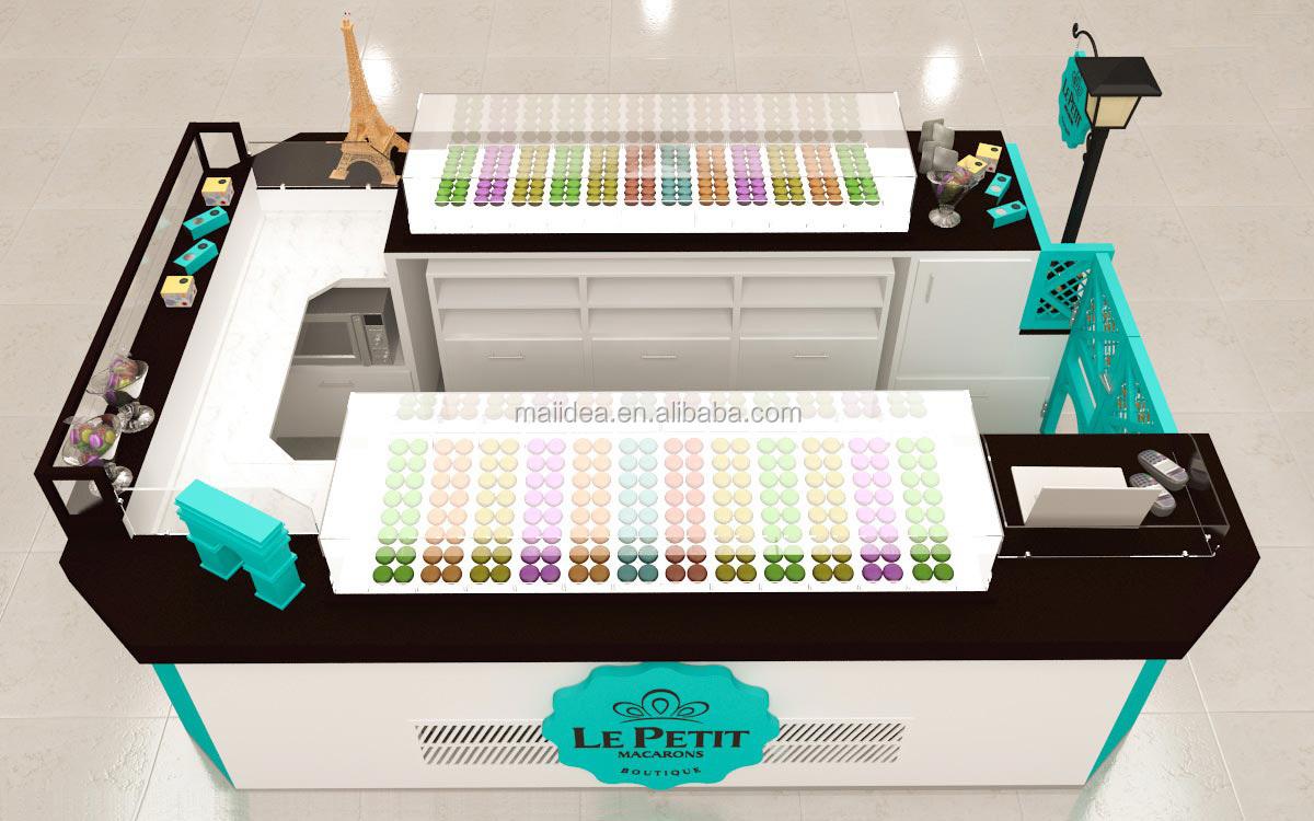 Good Design Of Mall Macarons Kiosk With Display Showcase