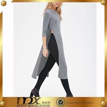 Heathered High Slit Dress New Fashion Ladies Knit Sweater Dress