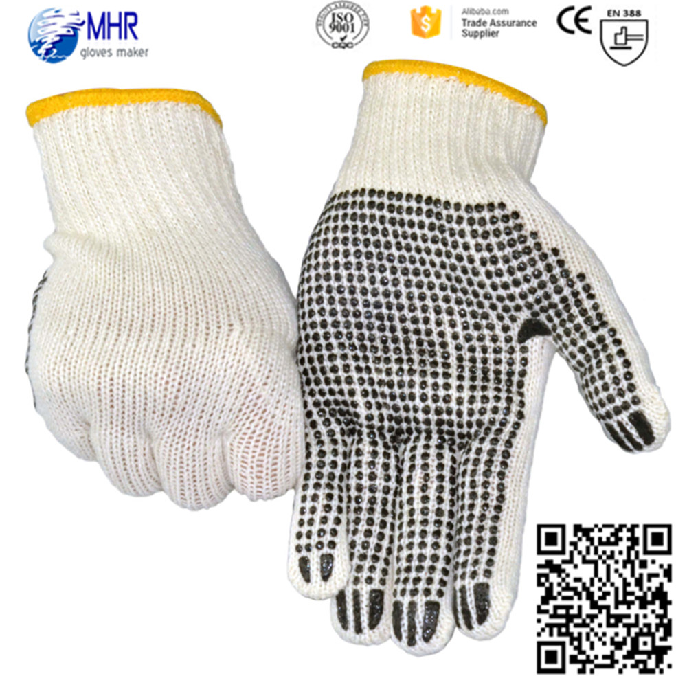 Brand MHR PVC Dotted Safety Work Gloves Cotton Knitted White Cotton String Knit Dotted Glove