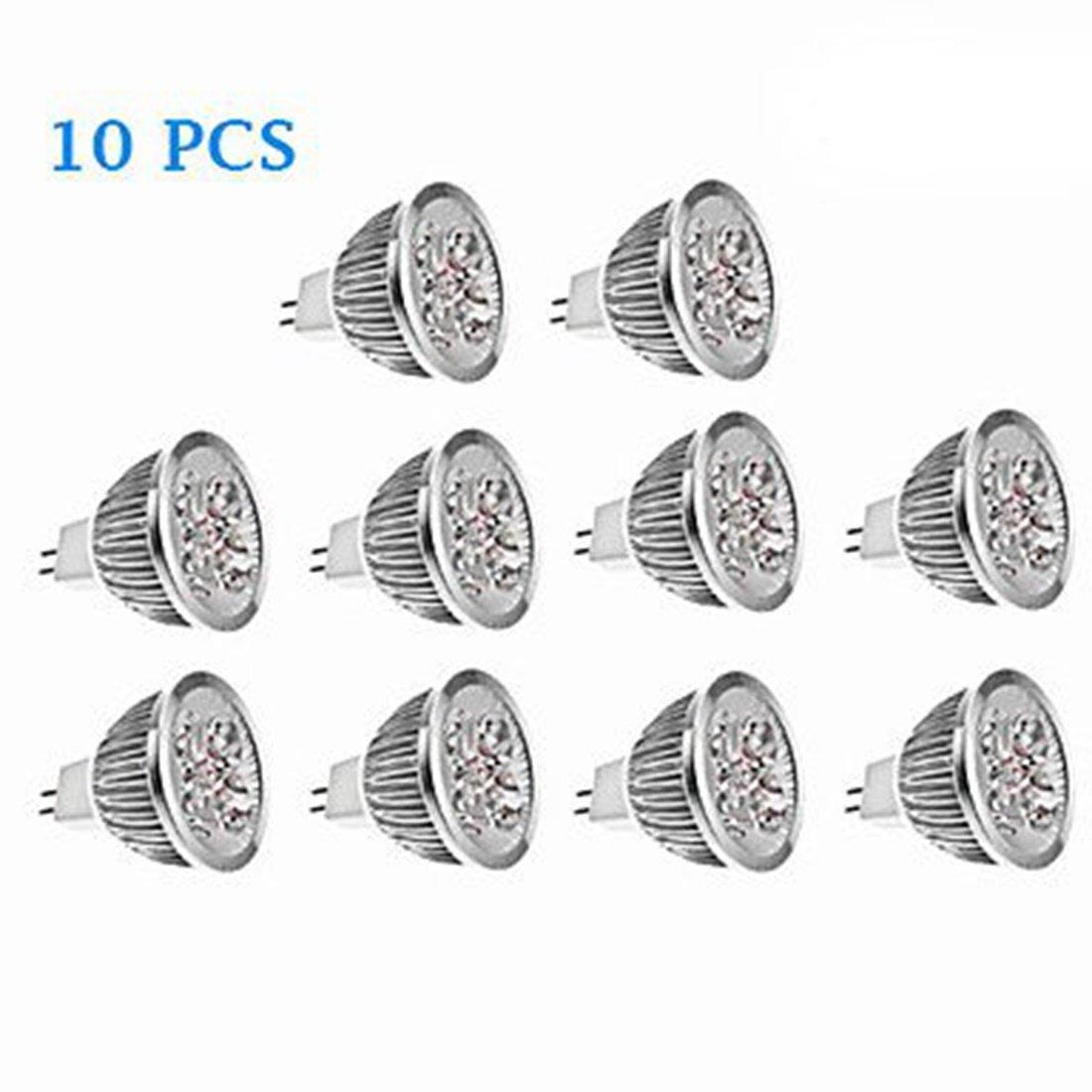 SRY-LED Bulbs MR16 LED Spotlight 4 Watt 270Lumens 35W Equal Holegen 3000/4000K/6000K 45 Deg Narrow Flood 12V DC GU5.3 Base 10Pcs Energy saving (Color : Cool white)