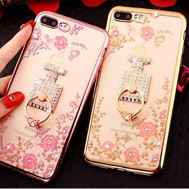 Perfume Bottle Metal Ring Plating TPU Case Cover For iphone 7 7plus,Bling Bling Mobile Phone Case