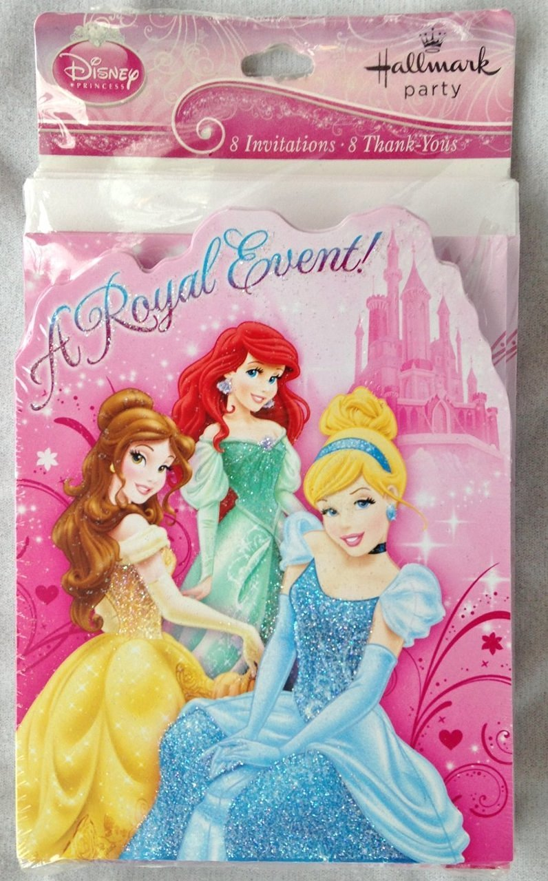 """Disney PRINCESS """"A ROYAL EVENT!"""" Party INVITATIONS (8 Count) & THANK YOU (8 Count) with Envelopes"""
