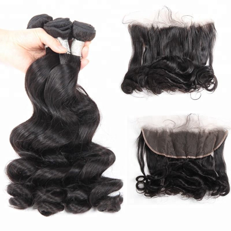 100% Human Hair Lace Frontal Malaysian Loose Wave Virgin Hair Lace Frontal Closure With Bundles фото