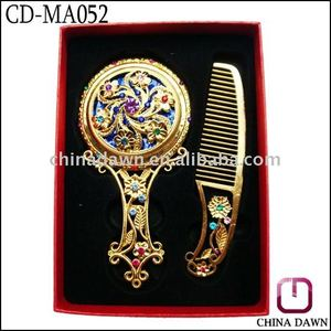 Promotion gift decorative hollow handle mirror comb set CD-MA052