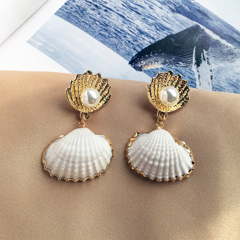 Beach Statement Jewellery 18k Real Gold Plated Double Natural Fan Shell Scallop Shell Dangle Earrings with White Pearl