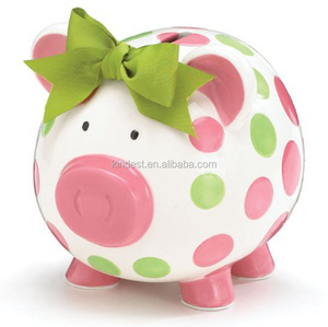 Pink Ceramic Polka Dot Piggy Bank for girls gift/ Baby Shower Gift