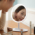 Best lighted make up mirror face LED table standing beauty mirror strip light around oval