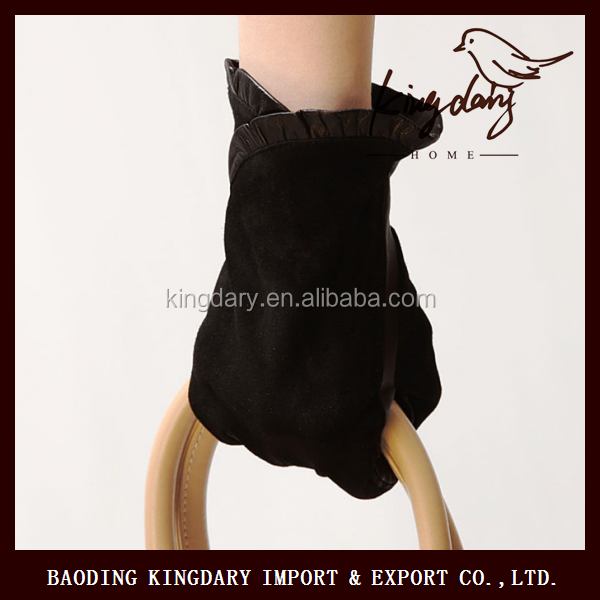 Low Price And High Quality Black Female Goatsuede Leather gloves With 100% Artificial Silk Lining