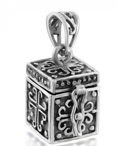 Customized Oxidized sterling silver box locket poison pendant for women