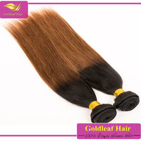 wholesale virgin brazilian hair two tone brazilian hair weft,7a grade dark root blond hair
