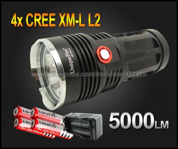 black uniquefire king 5000 lumen 4x cree xm l l2 led flashlight lamp high power torch for. Black Bedroom Furniture Sets. Home Design Ideas