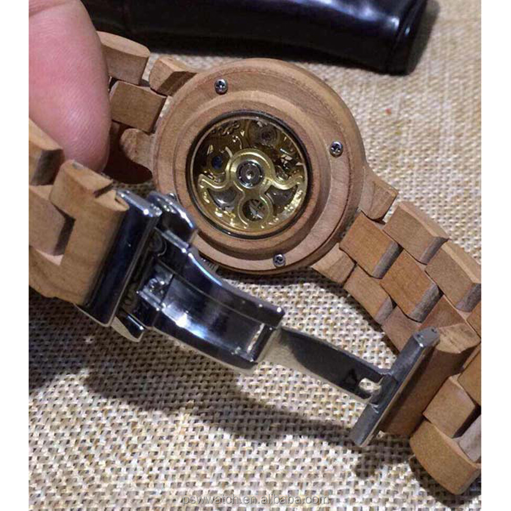 239d33b96fc Mechanical Skeleton Wood Watch Tense Wood Waterproof Watches - Buy ...