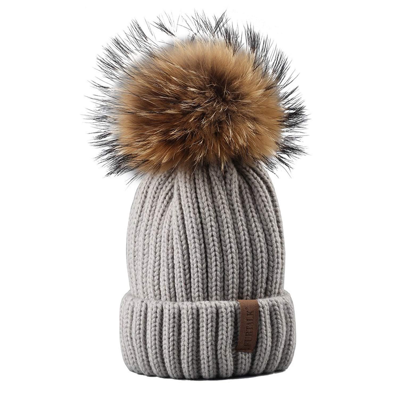 c3fb192c4bc94c Get Quotations · FURTALK Winter Beanie Pom Pom Hat - Bobble Hat Parent-Child  Knit Hats for Women