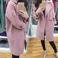 B12124A korean style lady new fashion elegant woolen long coat women fashion Woolen Coat