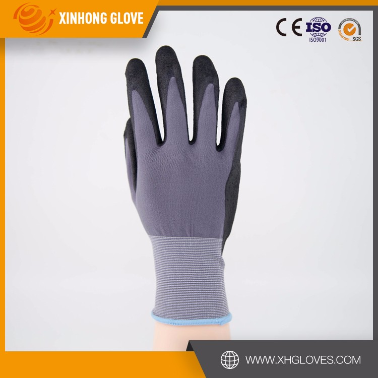 Wearproof breathable sweat absorbent nylon cut resistant glove nitrile glove