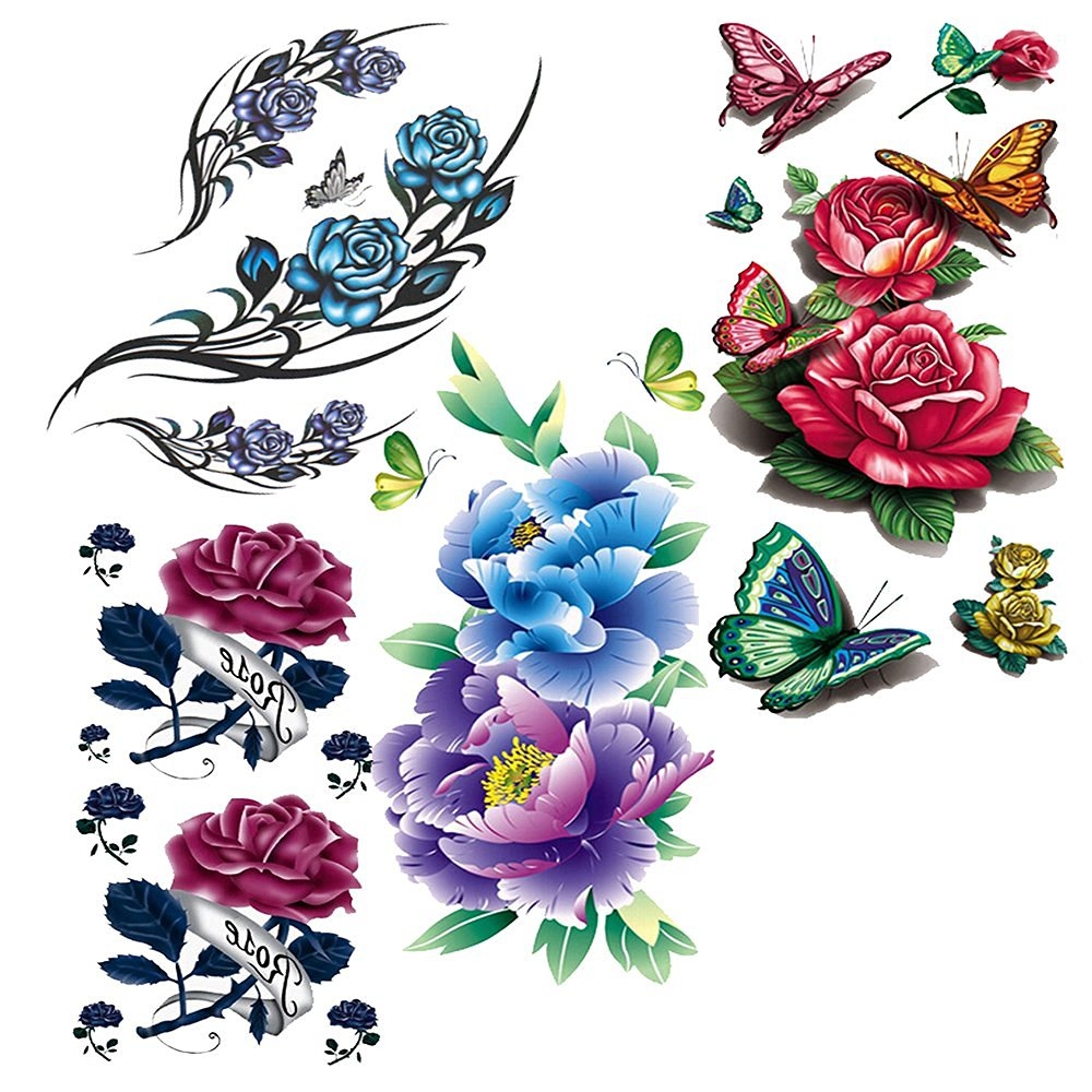 EVTECH(TM) 4 Style Mix Blossom Floral Flowers Animal Butterfly Red Peony Purple Rose Lotus Chinese Rose Colorful 3D Temporary Tattoos Waterproof NightClub Transfer Tattoos