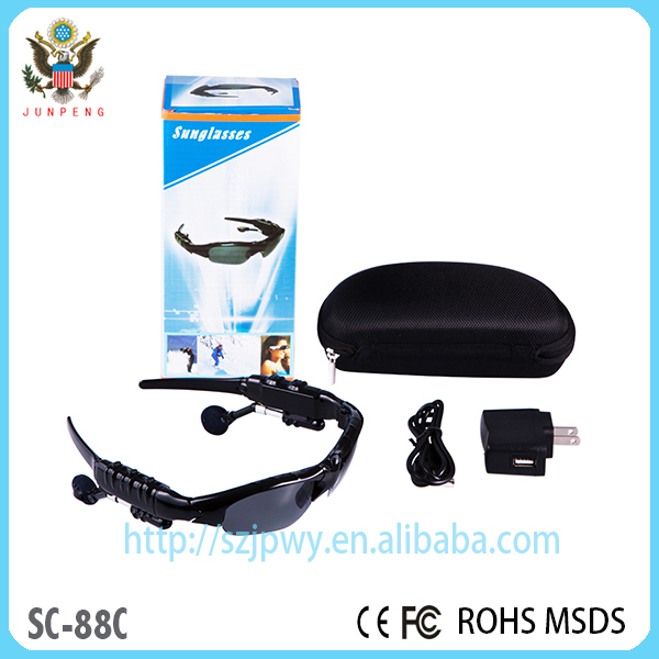 2015 Hot Selling beautiful bluetooth mp3 sunglasses with video camera