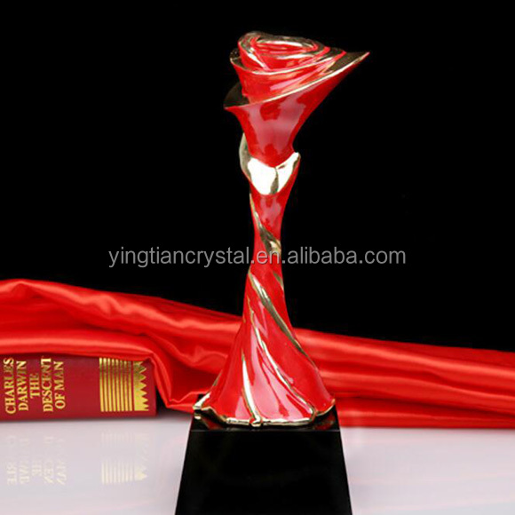Solid color red Crystal Trophy