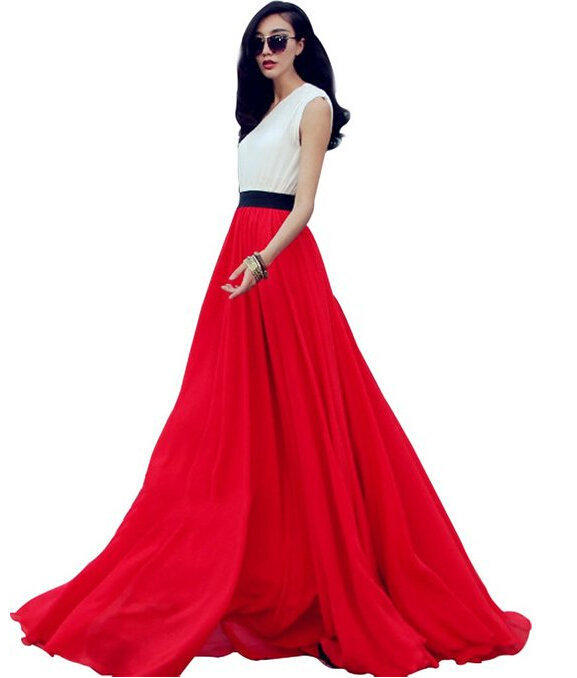 Women Summer Chiffon Mopping Floor Length Big Hem Solid Beach Maxi Skirts Summer Long Chiffon Skirt Saias Jupe Woman Apparel