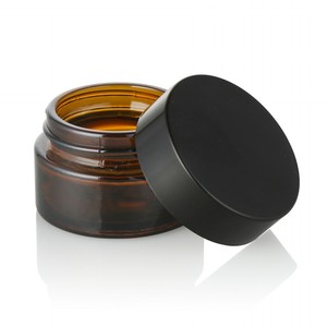 Skin Care cosmetic glass jars containers dark brown amber round glass cosmetic jars for 10 ml 20 ml 30 ml 50 ml 100 ml