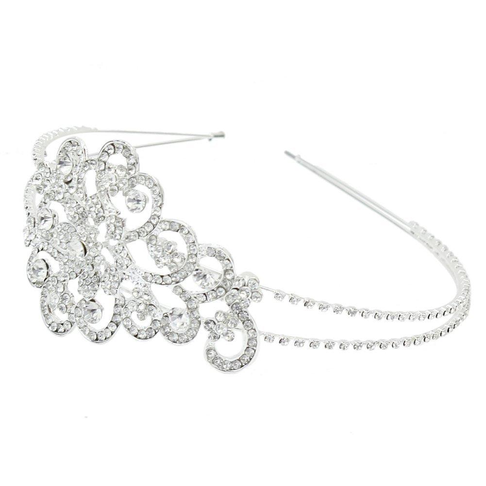 Bridal Wedding Silver Plated Flower Crystal Rhinestone Headband Hair Band Gift
