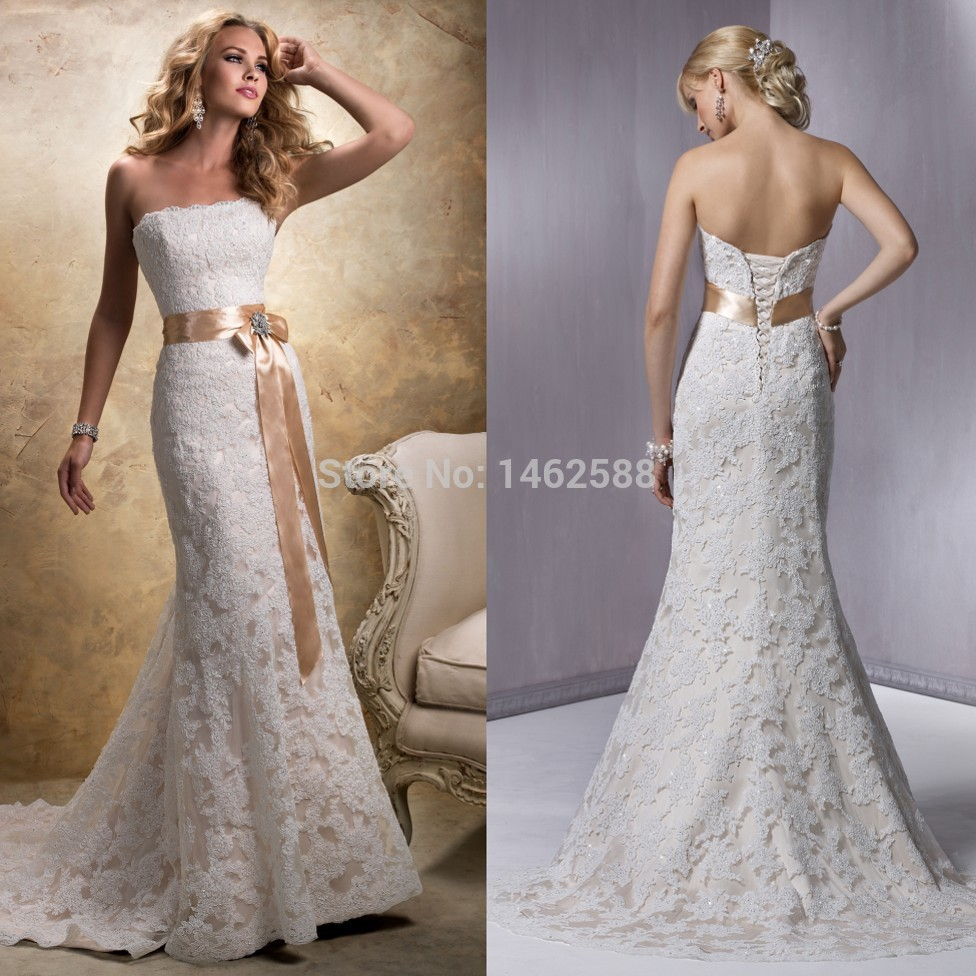 Champagne Lace Wedding Gown: Mermaid Style Strapless Champagne Satin Sashes Lace