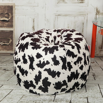 adult use soft cow print velvet teardrop balloon bean bag
