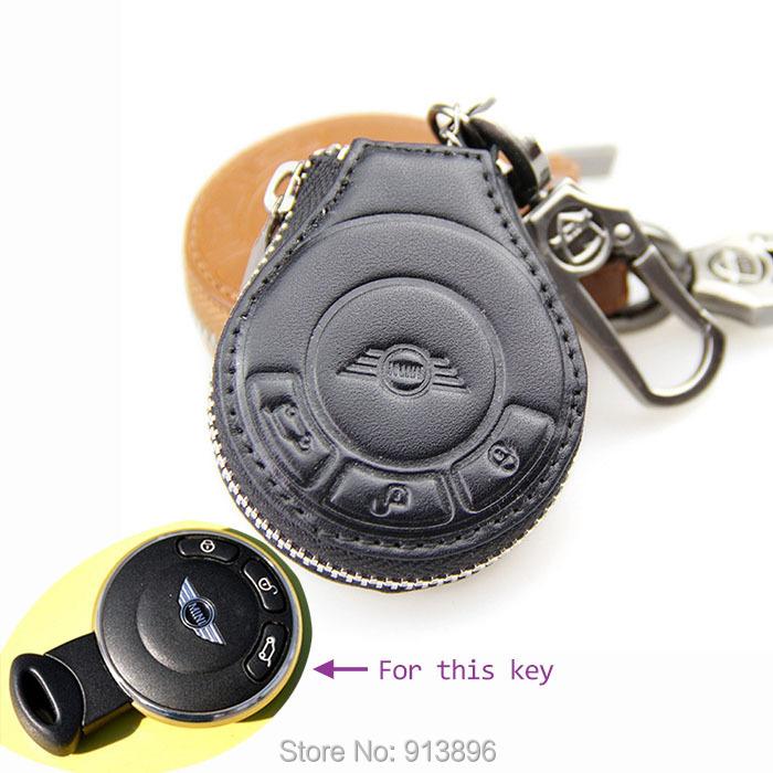 genuine leather car key fob for bmw mini cooper car key case holder shell key rings keychain. Black Bedroom Furniture Sets. Home Design Ideas