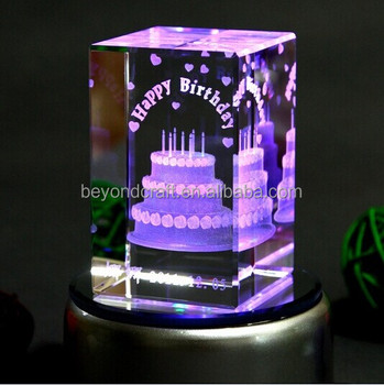 3d Crystal Cakelaser Etched Crystallovely Birthday Gifts