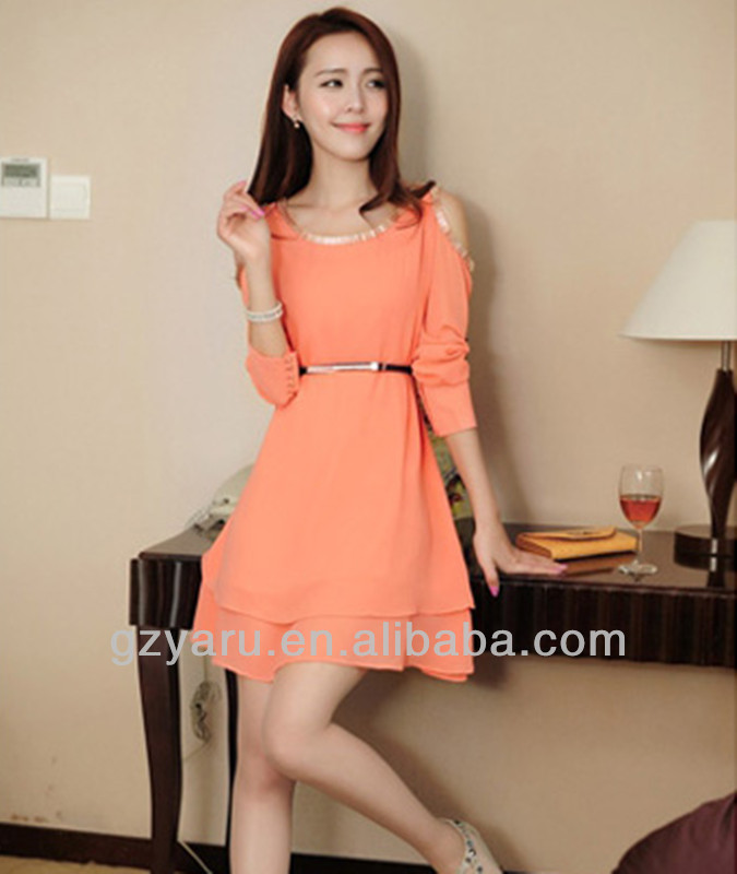 Top hot orange color fashion chiffon dress