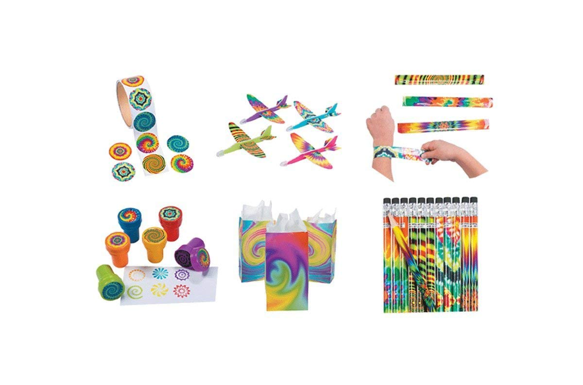 160 PiecesPsychedelic and Tie Dye Birthday Party Favor Bundle Pack-12 Psychedelic Stampers, 12 Psychedelic Pencils, 12 Psychedelic Gliders, 100 Psychedelic Stickers, 12 Psychedelic Slap Bracelets, 12