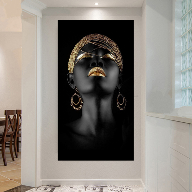 wholesale Black woman on canvas no frame home decor Wall poster decoration africa woman Wall Art painting Picture