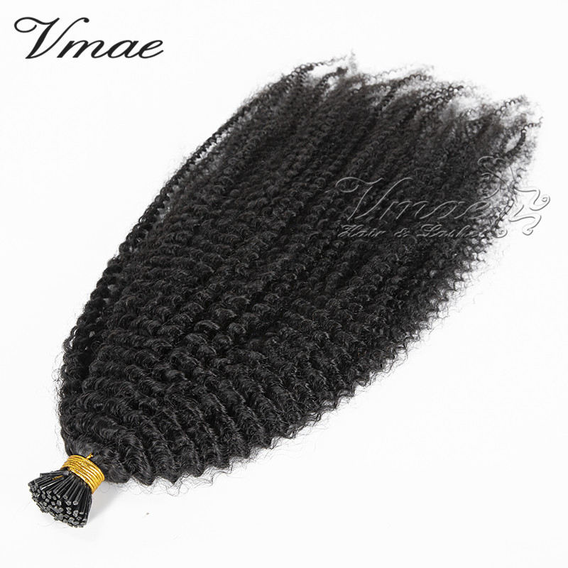 VMAE 10 To 30 Inch Cuticle Aligned Indian Raw Virgin Pre Bonded Human Hair Keratin Stick Prebonded Kinky Curly I Tip Extensions, Natural color
