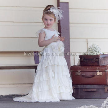 Newest Newborn Solid Cream Flower Dress Patterns Fashion Design Small S