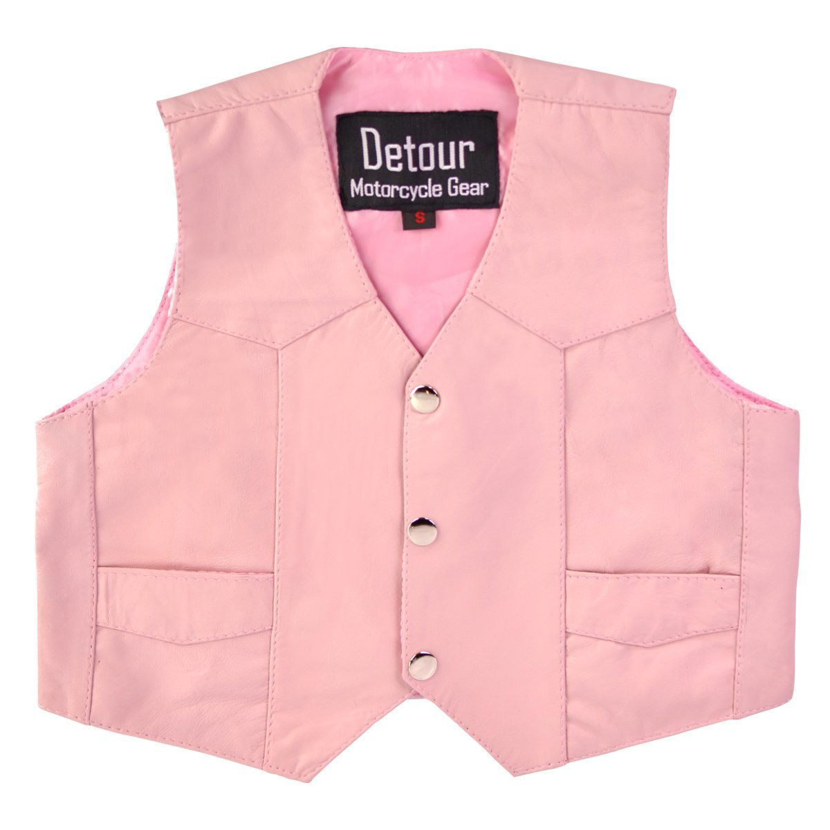 Girls Kids Pink Leather Vest 5XL