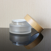 glass cosmetic jar for hair cream with glass jar with bamboo lid for sale GJ-2003A