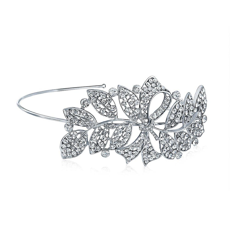 Bling Jewelry Crystal Rhinestone Ribbon Leaf Bridal Headband Silver Plated