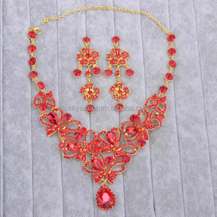 Dominican Republic Fashion Jewelry Red Bridal Set Pr1820