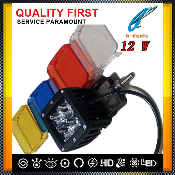 Multi color 12w led tractor working lights for Truck SUV 4x4 off road