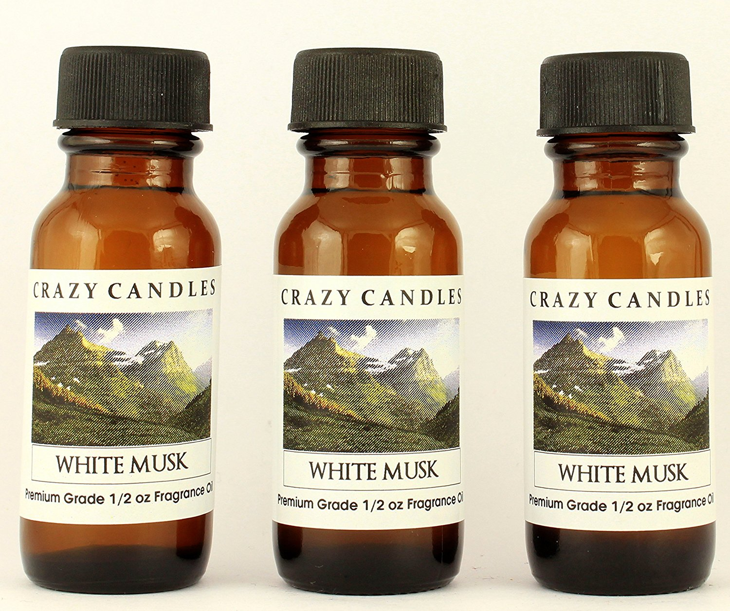 White Musk 3 Bottles 1/2 Fl Oz Each (15ml) Premium Grade Scented Fragrance Oil By Crazy Candles (Blend of Musk, Jasmine, Rose and Lily)