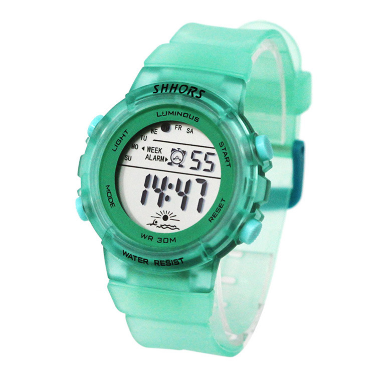 Fashion Candy translucent Sports Watch Colorful Frosted Band Waterproof LED Display Digital Sports Watch