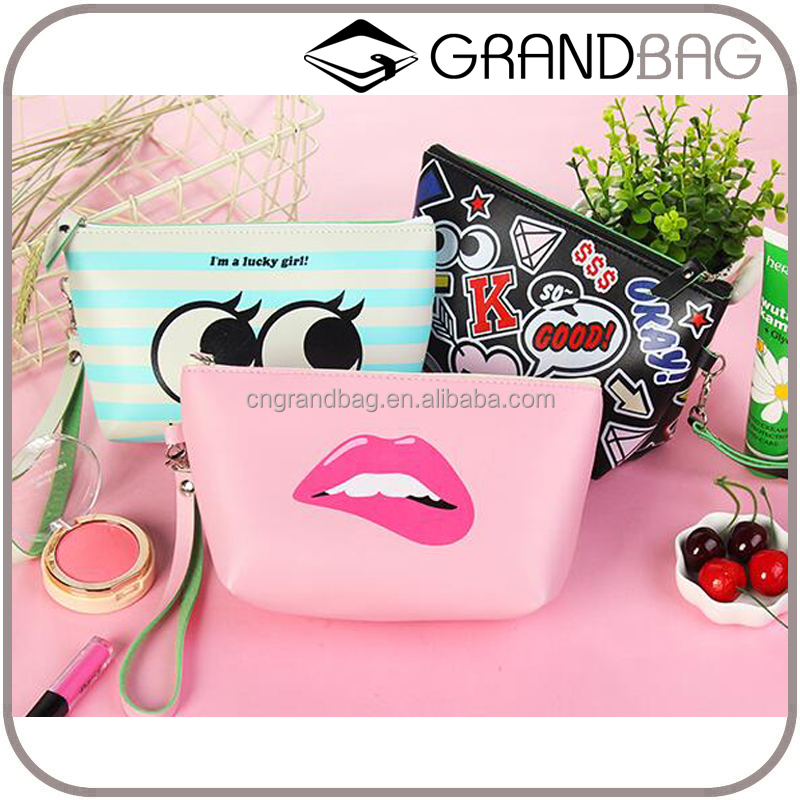 Promotional item cartoon waterproof PU leather cosmetic bag for young lady travel wash bag leather organizer wholesale
