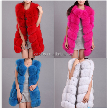 Fashion Colorful Blue Fox Fur Vest / Woman Fur Jacket / Real Fur ...