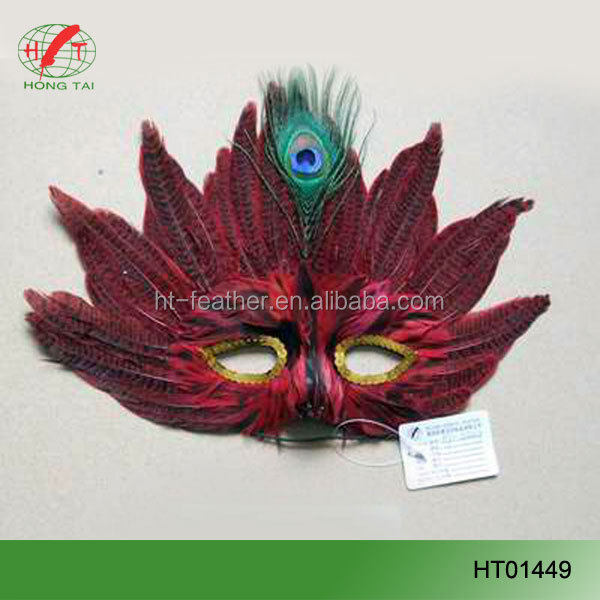 Wholesale sequins party mask halloween feather mask
