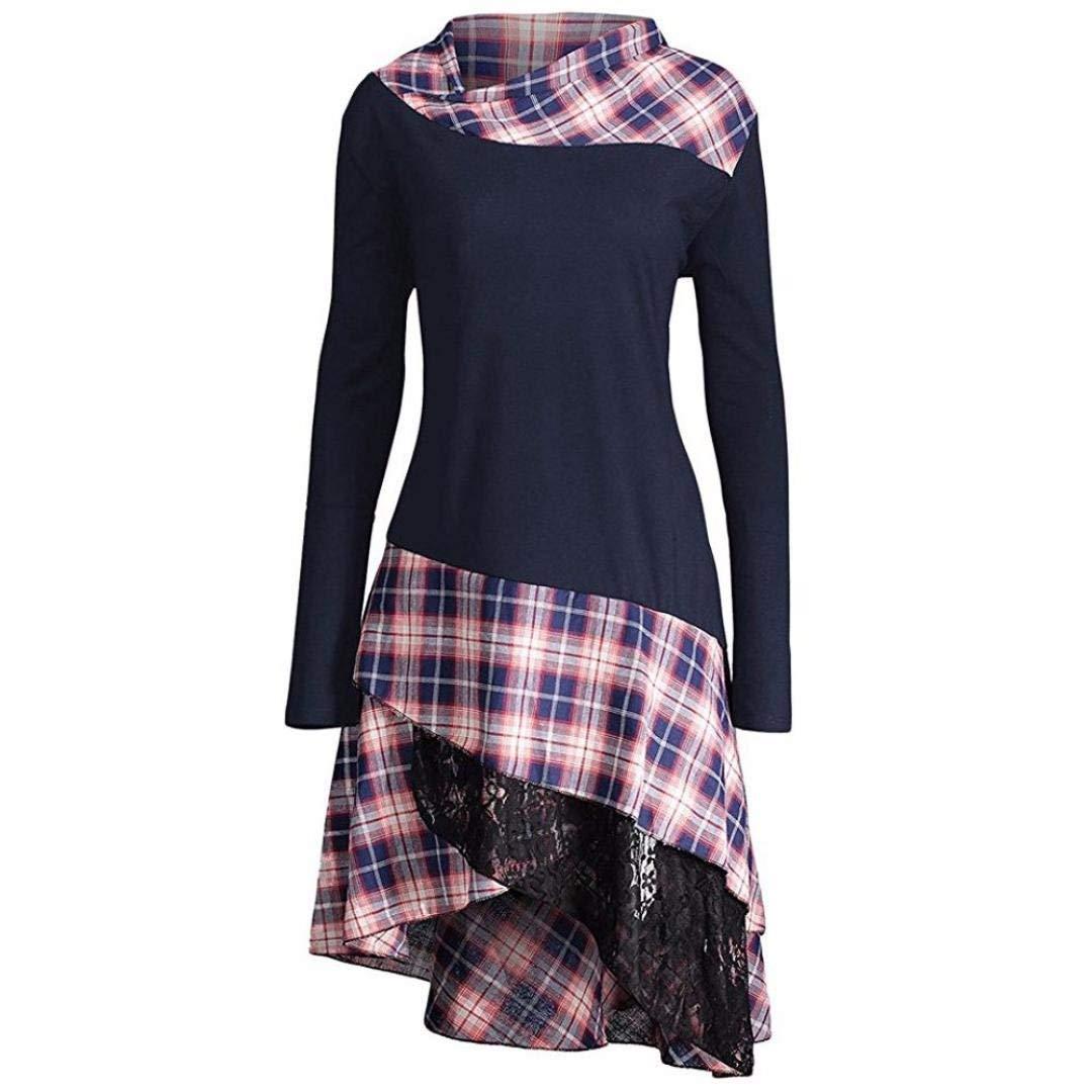 Women Dress Daoroka Ladies High Neck Plaid Pattern Patchwork Fit and Flare Casual Swing Skirt Fashion Pin Up Irregular Hem Long Sleeve Above Knee Spring Autumn Winter T Shirt Dress (XL, Navy)