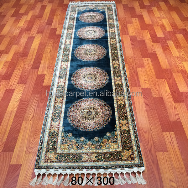 Huasi 2.5x10ft handmade turkish rug runner turkey handknotted blue silk carpet price