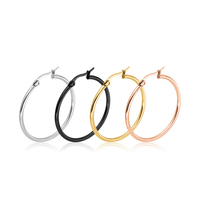 Factory Hot Sale Simple Fashion Titanium Steel Ear Ring Earrings Jewelry Round Circle Women big Hoop Gold Earrings
